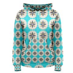 Floral Pattern On A Blue Background Pullover Hoodie