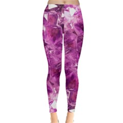 Amethyst Stone Of Healing Leggings  by FunWithFibro