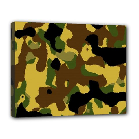 Camo Pattern  Canvas 14  X 11  (framed) by Colorfulart23