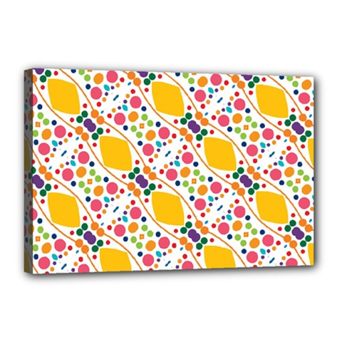 Dots And Rhombus Canvas 18  X 12  (stretched) by LalyLauraFLM