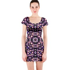 Colorful Tribal Geometric Print Short Sleeve Bodycon Dress by dflcprintsclothing
