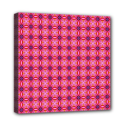 Abstract Pink Floral Tile Pattern Mini Canvas 8  X 8  (framed) by creativemom