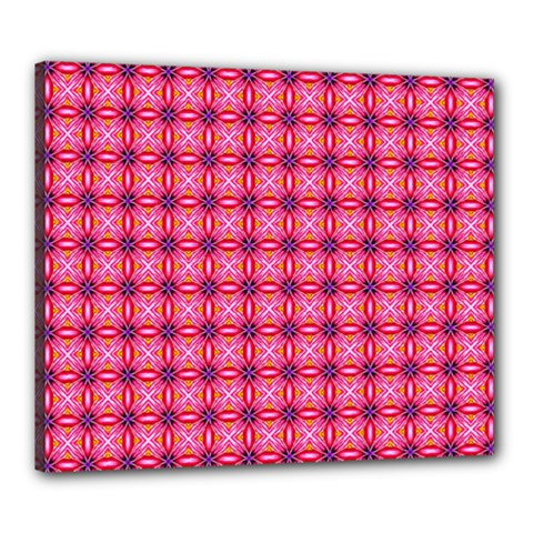 Abstract Pink Floral Tile Pattern Canvas 24  X 20  (framed) by creativemom