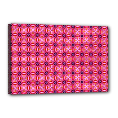 Abstract Pink Floral Tile Pattern Canvas 18  X 12  (framed) by creativemom