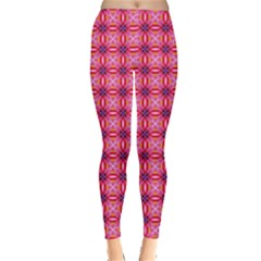 Abstract Pink Floral Tile Pattern Leggings  by creativemom