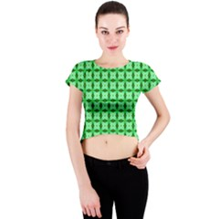 Green Abstract Tile Pattern Crew Neck Crop Top by creativemom