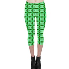 Green Abstract Tile Pattern Capri Leggings  by creativemom