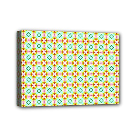 Aqua Mint Pattern Mini Canvas 7  X 5  (framed) by creativemom