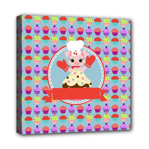 Cupcake With Cute Pig Chef Mini Canvas 8  X 8  (framed) by creativemom