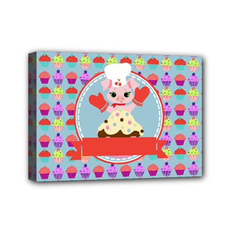 Cupcake With Cute Pig Chef Mini Canvas 7  X 5  (framed) by creativemom