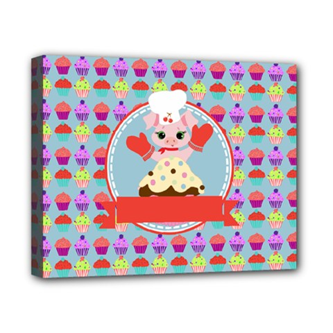 Cupcake With Cute Pig Chef Canvas 10  X 8  (framed) by creativemom
