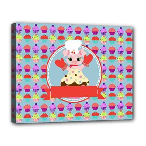 Cupcake With Cute Pig Chef Canvas 14  X 11  (framed) by creativemom