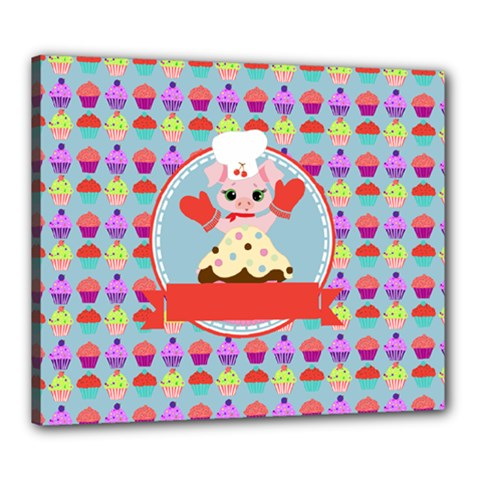 Cupcake With Cute Pig Chef Canvas 24  X 20  (framed) by creativemom