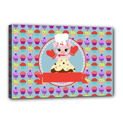 Cupcake With Cute Pig Chef Canvas 18  X 12  (framed) by creativemom