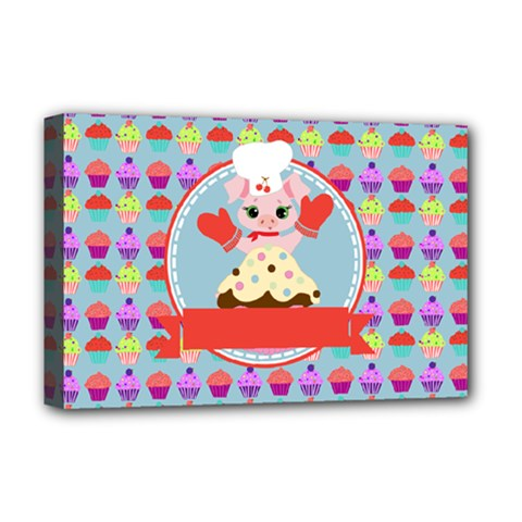 Cupcake With Cute Pig Chef Deluxe Canvas 18  X 12  (framed) by creativemom
