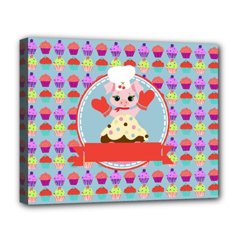 Cupcake With Cute Pig Chef Deluxe Canvas 20  X 16  (framed) by creativemom