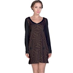 Tribal Geometric Vintage Pattern  Long Sleeve Nightdress