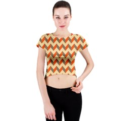 Modern Retro Chevron Patchwork Pattern  Crew Neck Crop Top by creativemom