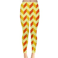 Modern Retro Chevron Patchwork Pattern  Leggings  by creativemom