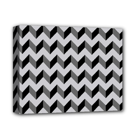 Modern Retro Chevron Patchwork Pattern  Deluxe Canvas 14  X 11  (framed) by creativemom