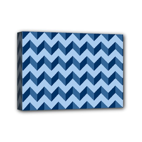 Tiffany Blue Modern Retro Chevron Patchwork Pattern Mini Canvas 7  X 5  (framed) by creativemom