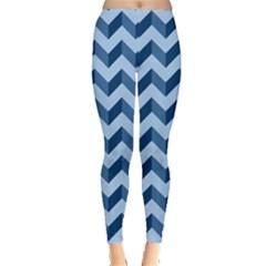 Tiffany Blue Modern Retro Chevron Patchwork Pattern Leggings  by creativemom