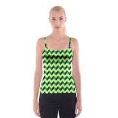 Green Modern Retro Chevron Patchwork Pattern Spaghetti Strap Top
