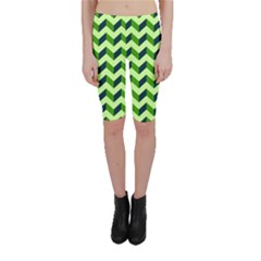 Green Modern Retro Chevron Patchwork Pattern Cropped Leggings  by creativemom