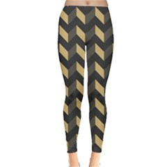 Tan Gray Modern Retro Chevron Patchwork Pattern Leggings  by creativemom
