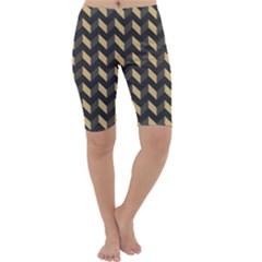 Tan Gray Modern Retro Chevron Patchwork Pattern Cropped Leggings  by creativemom