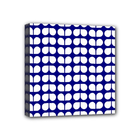 Blue And White Leaf Pattern Mini Canvas 4  X 4  (framed) by creativemom