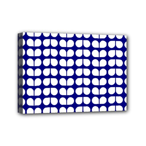 Blue And White Leaf Pattern Mini Canvas 7  X 5  (framed) by creativemom