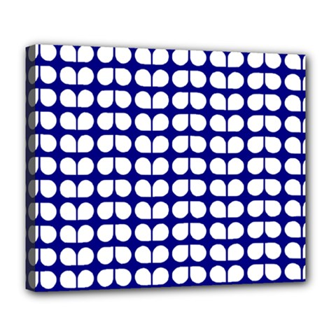 Blue And White Leaf Pattern Deluxe Canvas 24  X 20  (framed) by creativemom