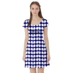 Blue And White Leaf Pattern Short Sleeve Skater Dress by creativemom