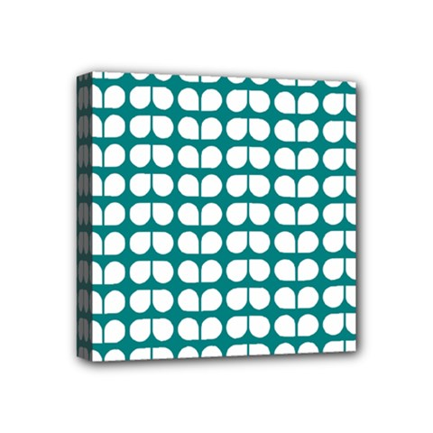 Teal And White Leaf Pattern Mini Canvas 4  X 4  (framed) by creativemom