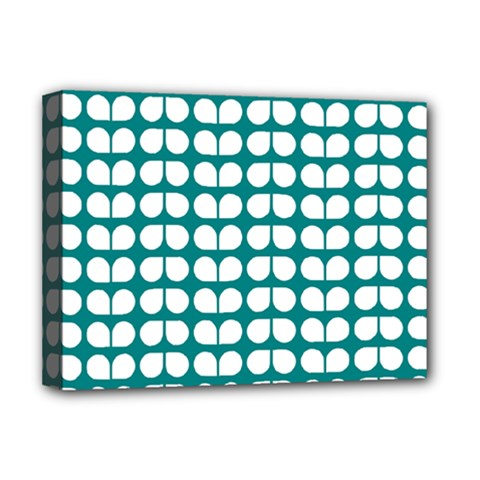 Teal And White Leaf Pattern Deluxe Canvas 16  X 12  (framed)  by creativemom