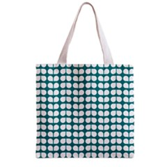 Teal And White Leaf Pattern Grocery Tote Bag by creativemom
