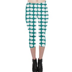 Teal And White Leaf Pattern Capri Leggings  by creativemom