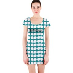 Teal And White Leaf Pattern Short Sleeve Bodycon Dress