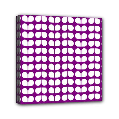 Purple And White Leaf Pattern Mini Canvas 6  X 6  (framed) by creativemom