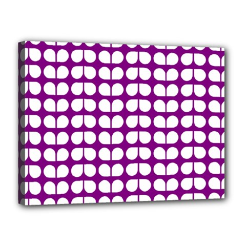 Purple And White Leaf Pattern Canvas 16  X 12  (framed) by creativemom