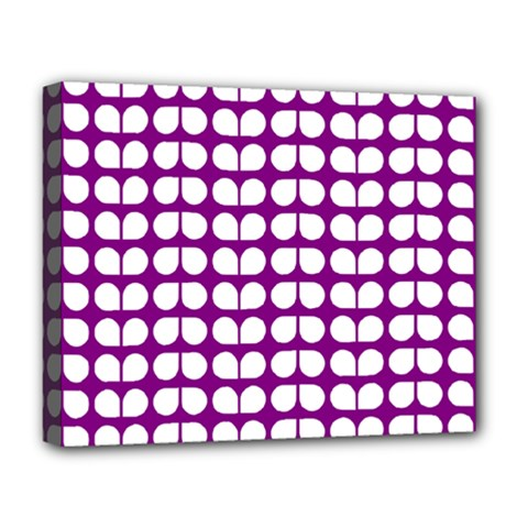 Purple And White Leaf Pattern Deluxe Canvas 20  X 16  (framed) by creativemom