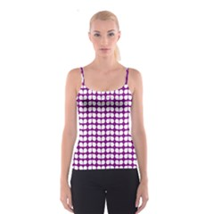 Purple And White Leaf Pattern Spaghetti Strap Top