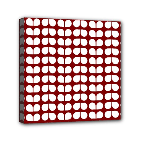 Red And White Leaf Pattern Mini Canvas 6  X 6  (framed) by creativemom