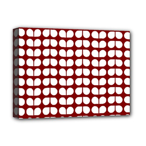 Red And White Leaf Pattern Deluxe Canvas 16  X 12  (framed)  by creativemom