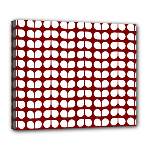 Red And White Leaf Pattern Deluxe Canvas 24  X 20  (framed) by creativemom