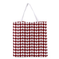 Red And White Leaf Pattern Grocery Tote Bag by creativemom