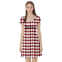 Red And White Leaf Pattern Short Sleeve Skater Dress by creativemom
