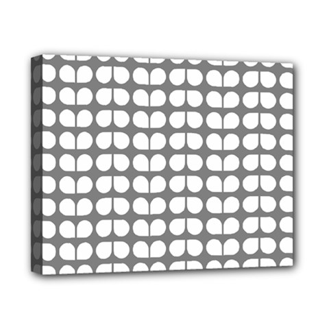 Gray And White Leaf Pattern Canvas 10  X 8  (framed) by creativemom
