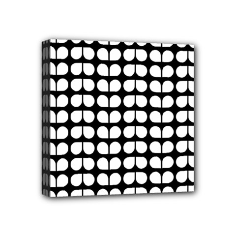 Black And White Leaf Pattern Mini Canvas 4  X 4  (framed) by creativemom